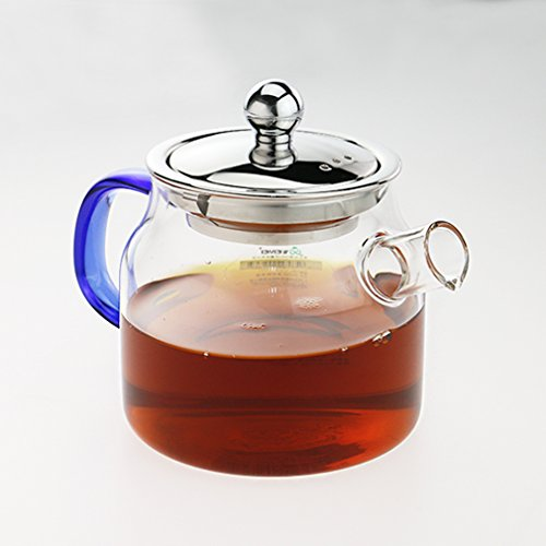 WEIMEI Borosilicate Glass Teapot with Stainless Steel Infuser & Lid 450ml /16oz,Heat Resistant Glass Tea pot Stovetop Safe
