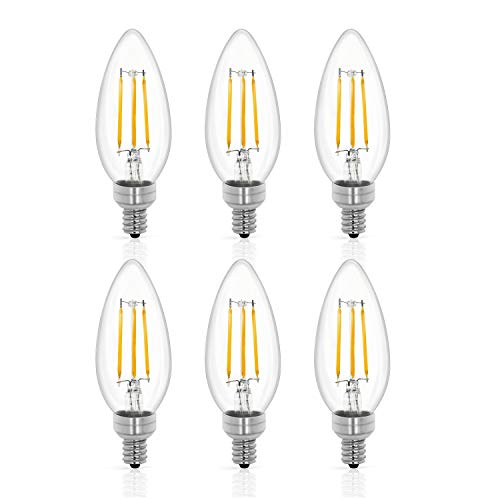 Tenergy LED Candelabra Bulbs Dimmable, 4W (40 Watt Equivalent) Warm White Soft White (2700K) E12 Base Decorative B11/C37 Filament Candle Bulbs for Chandelier/Ceiling Fan (Pack of 6)