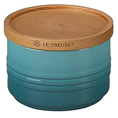 Le Creuset of America 4  Canister with Wood Lid, 12 oz, Caribbean