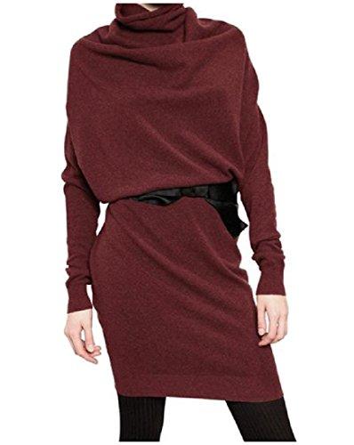 Manches Longues Confortables Femmes, Plus La Taille Pull-over À Col Roulé Vin Robe Moulante Rouge