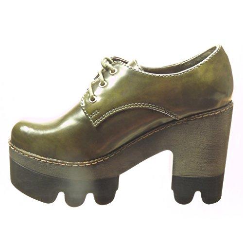 Low 5 cm Schuhe Grün Block Boots Derby cm Booty Lack High Damenmode Ankle 10 Plateau Heel Angkorly Schuh Boots x0Bg5Zwgqa