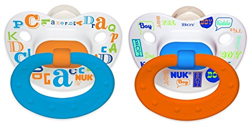 NUK Baby Talk Puller Pacifier, 0-6 Months, Blue/Orange