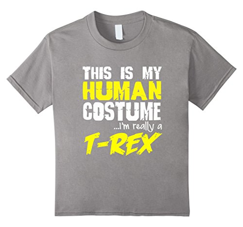 [Kids FUNNY REALLY A T-REX T-SHIRT Dinosaur Halloween Costume 8 Slate] (Father Daughter Halloween Costumes)