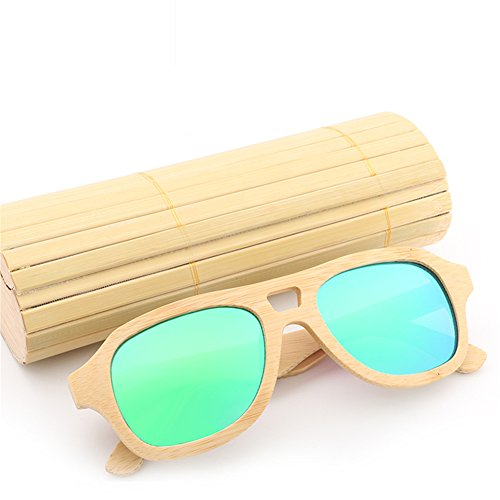 SYIWONG Handmade Polarized Wood Sunglasses Anti-glare Classic Wooden Glasses for Mens or - Sunglasses Long Narrow For Face