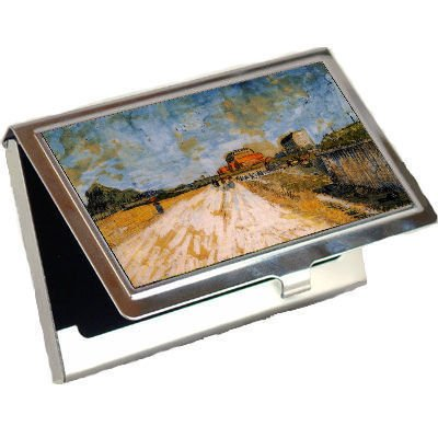 Road Running Beside The Paris Ramparts By Vincent Van Gogh Business Card Holder