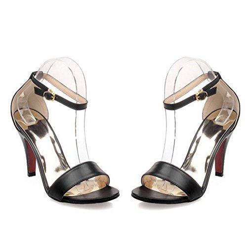 Heeled Women's Toe Pu Black Sandals Solid Buckle Open AllhqFashion Heels High 7wOgCnxdC8