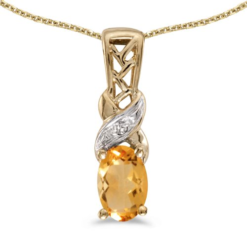 Jewels By Lux 14k Yellow Gold Genuine Birthstone Oval Citrine And Diamond Pendant (0.31 Cttw.)