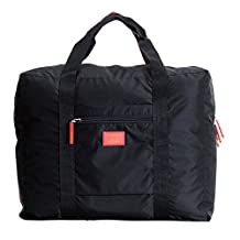 Doshop New Stylish Weekend Duffle Bag Carry on Sized Travel Duffle with Trolley Sleeve,Cabin Approved Flight Bag,Holiday Gym/Overnight Holdall Clothes Storage Packing Bag (Black)