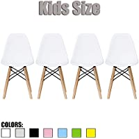 2xhome - Set of Four (4) - White - Kids Size Eames Side Chairs Eames Chairs White Seat Natural Wood Wooden Legs Eiffel Childrens Room Chairs No Arm Arms Armless Molded Plastic Seat Dowel Leg…