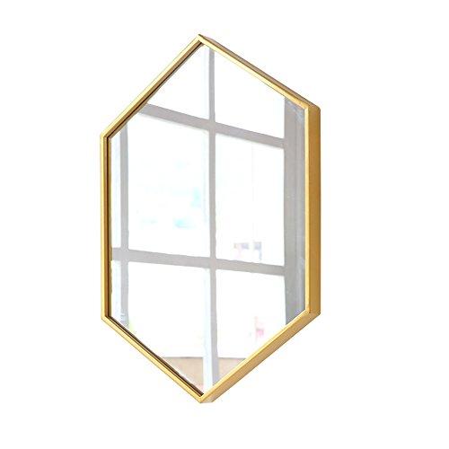 Mirror Nordic metal frame wall bathroom bedroom hexagonal multi size optional (Color : Gold, Size : 4060cm) ()