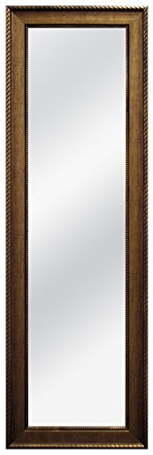 MCS 12x48 Inch Over the Door Mirror with Rope Finish, 18x54 Inch Overall Size, Antique Gold (47704) (Door Antique Mirror)