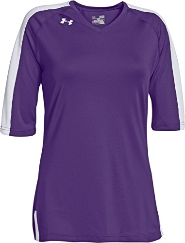 (Under Armour Women's Spiketown 1/2 Sleeve Jersey Top (Small, Purple/White))