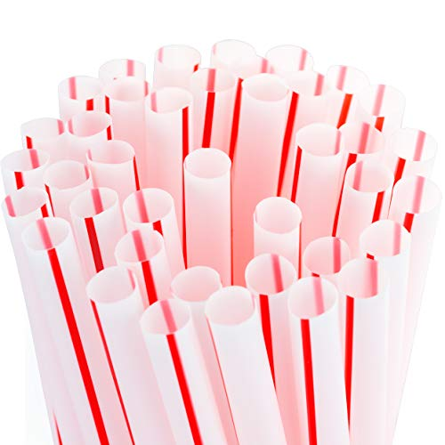 Soda Shoppe Style Red and White Striped Drinking Straws 300 Pack. Each 8in BPA Free Straight Disposable Straw is Individually Wrapped in Paper for Safe, Clean Fun! Great for School STEM Projects! -