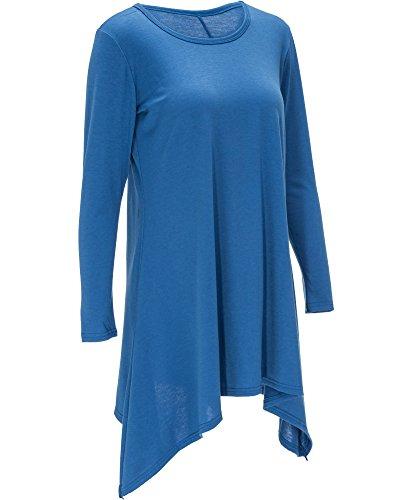 Mujeres Vestido Con Manga Larga Mini Dress Camiseta Larga Hem Irregular Vestido de Otoño Azul