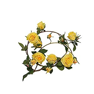 Mikilon 1PCS(5FT) Fake Rose Vine Garland Artificial Flowers Plants for Hotel Wedding Home Party Garden Craft Art Decor (Yellow) 91