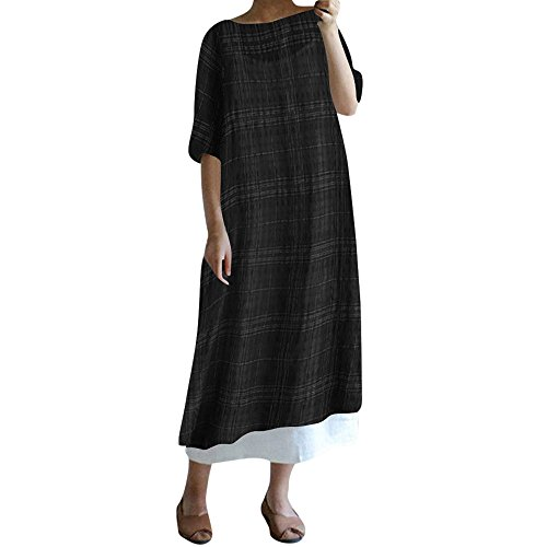 Long Maxi Dresses for Women Summer Casual Plaid 1/2 Sleeve Loose Cotton Linen Split ()