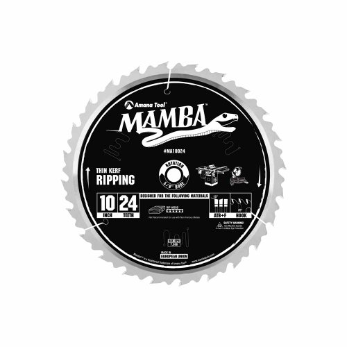 Amana Tool Mamba Series MA10024 Thin Kerf Ripping 10-Inch x 24 Tooth x ATB+F Grind 5/8-Inch Bore Saw Blade (Rip Glue Line Blade)