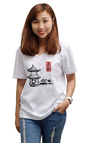 Pagoda - Japan Printed Cotton V-Neck Short Sleeves Loose Top Tee Shirt WTS_16 (Pagoda Japan)