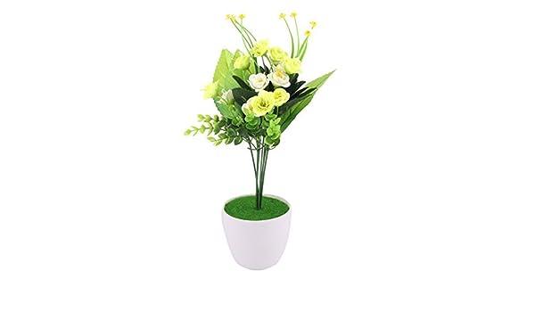 Amazon.com: eDealMax plástico Pot Inicio arte de DIY decorativo simulación Artificial de la Flor de la luz Verde: Home & Kitchen