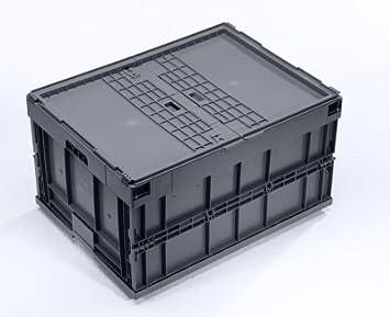 Caja Plegable – Volumen aprox. 200 L, con anscharniertem – Tapa de plástico apilable