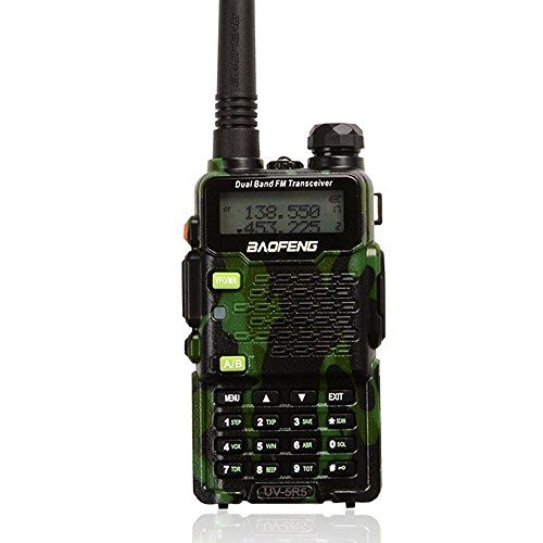Fire Command Vehicles (Two Way Radio,Baofeng Walkie Talkie UV-5R5 5W Dual-Band Two-Way Ham Radio Transceiver UHF/VHF 136-174/400-520MHz,65-108MHz FM with Upgraded Earpiece,Built-in VOX Function,Battery,Charger - Camo)