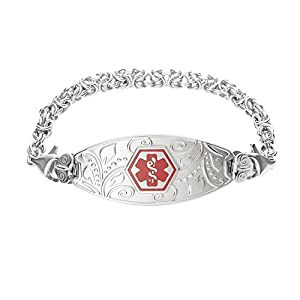 Divoti Deep Custom Laser Engraved Lovely Filigree Medical Alert Bracelet -Stainless Handmade Byzantine-Red