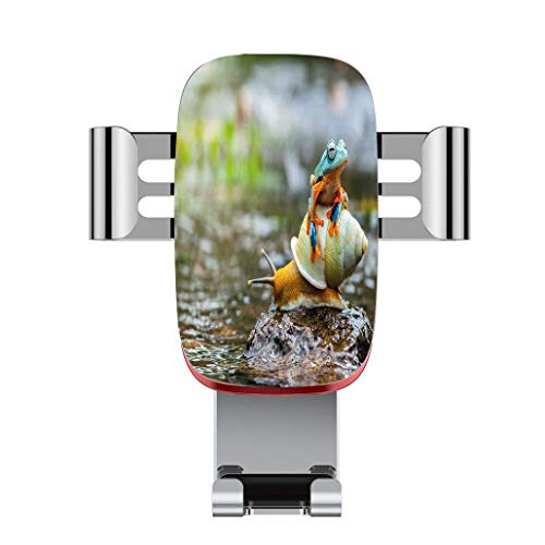 Metal automatic car phone holder,Funny,Cute Colorful Frog Above the Snail Riverscape Water Rock Mollusks Amphibia,adjustable 360 degree rotation, car phone holder compatible with 4-6.2 inch smartphone