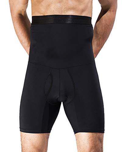 QUAFORT Men Tummy Control Shorts High Waist Slimming Shapewear Body Shaper Leg Underwear Briefs Black