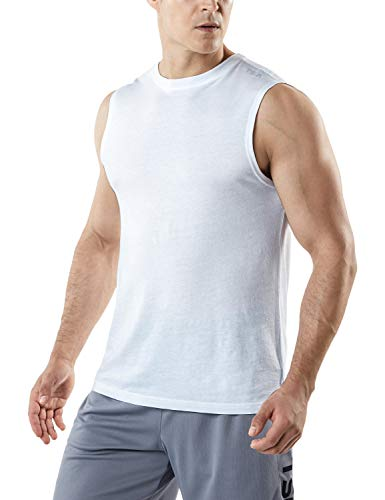 TSLA Men's (Pack of 1 or 3) Workout Muscle Tank Sleeveless Gym Training Active Workout Cool Dry Top Shirt, Dyna Cotton Tank Top(mtn52) - White, X-Large