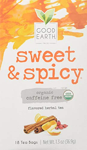 Good Earth Teas Organic Sweet and Spicy Herbal Caffeine Free Tea Bag, 18 Count