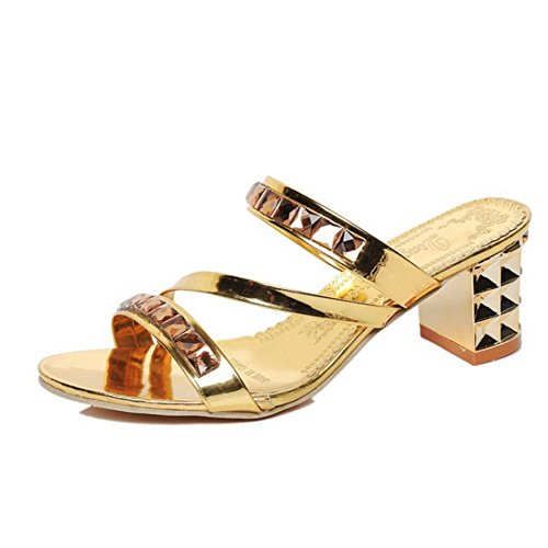 Cybling Vrouwen Mid-hiel Sandalen Feestjurk Bright Rhinestones Bohemian Sandaal Slippers Goud