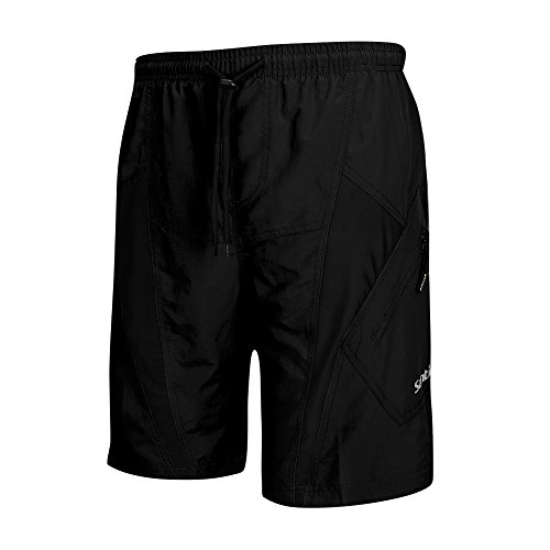SANTIC Men's Cycling Shorts Loose-Fit 4D Padded Bike Bicycle MTB Mountain Bike Shorts, Black, US 2XL