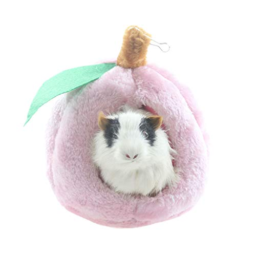 Emours Rats Hamster Winter Warm Fleece Hanging Cage Hammock House Cute Fruit Design with Bed Mat,S,Pink