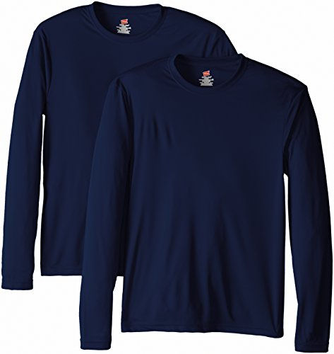Hanes Men's Long Sleeve Cool Dri T-Shirt UPF 50+, Medium, 2 Pack ,Navy (Fit Hanes Relaxed T-shirt)
