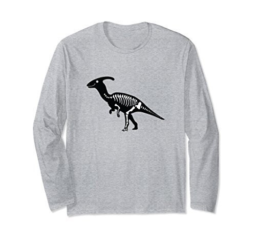 Unisex Parasaurolophus Fossil Long Sleeve Shirt | Dinosaur Skeleton Medium Heather Grey ()