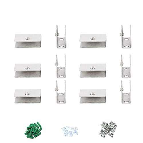 ZXHAO Stainless Steel Adjustable Frameless Rectangle Glass Shelf Clamp Clip 12pcs 6-8mm(0.24