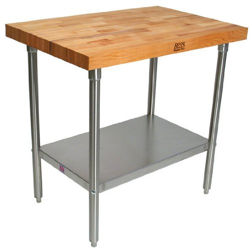 John Boos TNS02 Maple Top Work Table with Stainless Steel Base and Shelf, 48'' x 24'' x 2-1/4'' by John Boos
