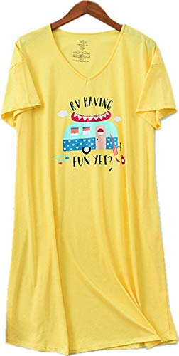 (Women's Nightgown Cotton Sleep Tee Nightshirt Casual Print Sleepwear Lucky06-Yellow-L)