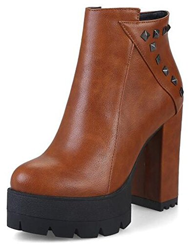 Brown Side Ankle Unique Boots Booties Platform Chunky Heels Women's Zipper Studded High IDIFU SzH7q5w