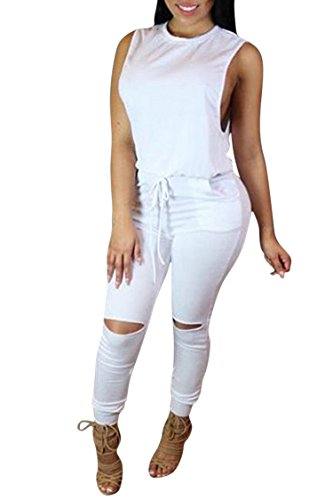 (Women's 1PC Trendy Jumpsuit Sleeveless Broken Hole Waisted Club Long Romper Outfit, X-Large, )