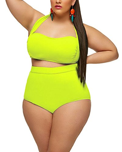 d177e49025d4e Lalagen Women s High Waist Halter Bandeau 2 Piece Plus Size Bikini Swimsuit  neon yellow XXXL