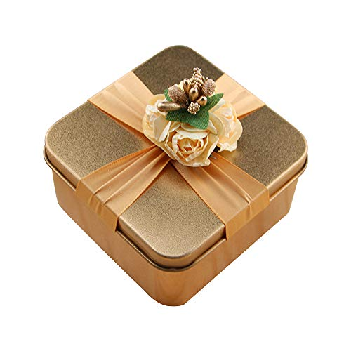 FightingFly 12pcs Wedding Party Favor Boxes, Square Shaped Tins Candy Bag Chocolate Gift Storage Containers with Ribbon and Gold Berries for Wedding Party Birthday Bridal Shower Decoration