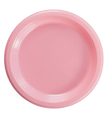Exquisite Plastic Dessert/Salad Plates - Solid Color Disposable Plates - 100 Count (10 Inch, Pink) -