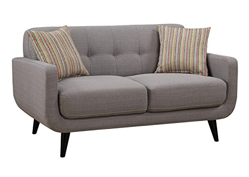 Crystal Gray Mid-Century Love Seat