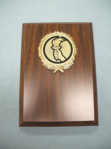 Insert Plaque - Torch Insert Trophy Plaque 5 x 7 Walnut Finish