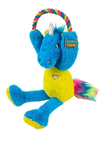 CudlTuf Large Magic Unicorn Dog Toy Cute Squeaky Heavy Duty Soft Plush Toy - Good for a Puppy, Small, Medium or Big Aggressive chewers. Durable Fun Stuffed Dog Toy with tug Rope and Crinkle Liner ()