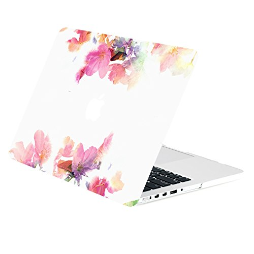 TOP CASE - Floral Reflection Pattern Graphic Rubberized Hard Case Cover Compatible with Apple MacBook Pro 13
