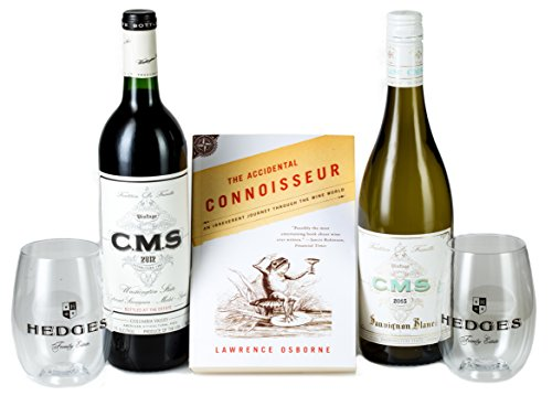 Hedges Family Estate The Literate Wino Gift Set with The Accidental Connoisseur & 2 Go Vino glasses, 2 x 750 mL