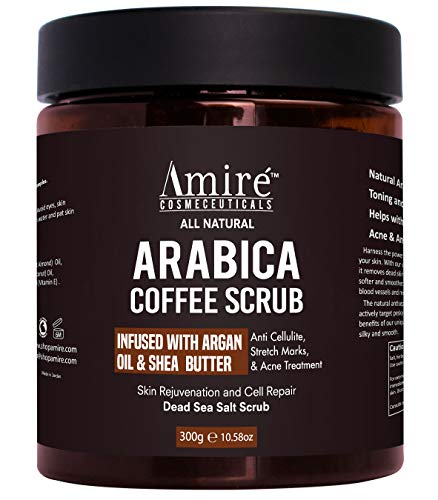 All Natural Arabica Coffee Body Scrub, Infused with Argan Oil and Shea Butter, Great for Acne, Anti Cellulite and Stretch Mark Treatment, Helps with Eczema and Age Spots (Best Coffee Scrub For Cellulite)