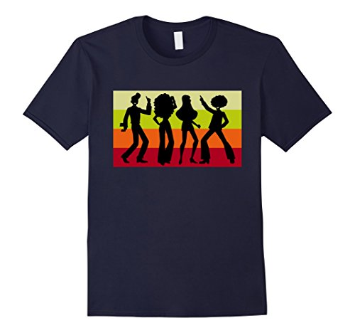 Mens Retro Disco Dancing Shirt - Disco Dancer Gift for 70s XL Navy (Mens 70s Outfits)